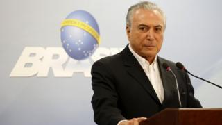 Brazilian President Michel Temer delivers televised address on Saturday, May 20, 2017