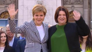 Susan Aitken (right), the new leader of Glasgow City Council, with SNP leader Nicola Sturgeon