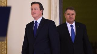David Cameron and Romanian President Klaus Iohannis