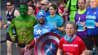 Runners wear fancy dress to compete in the marathon, Belfast City Marathon, 1 May 2017