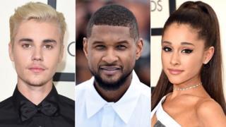 Justin Bieber, Usher and Ariana Grande
