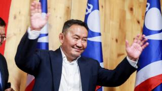 Khaltmaa Battulga pictured at a press conference for his apparent victory