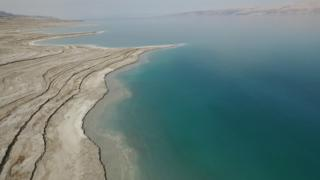 An image of the Dead Sea taken by a BBC drone