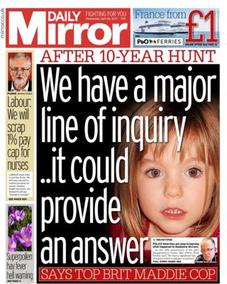 Daily Mirror front page - 26/04/17