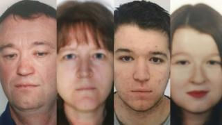 Combination of pictures shows the four members of the Troadec family - Pascal, Brigitte, Sebastien and Charlotte - who have disappeared in France