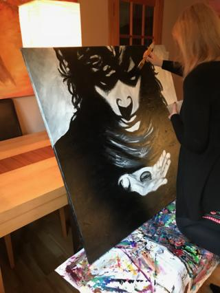 Sophie Robb at work on a painting