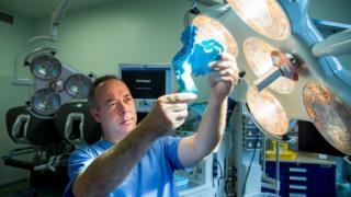 J. Calvin Coffey na sala de cirurgia segura modelo plástico do mesentério