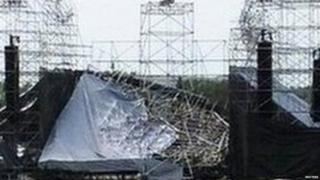 The collapsed stage at Downsview Park in Toronto will be shown June 16, 2012