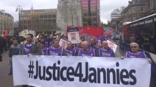 Striking janitors in George Square