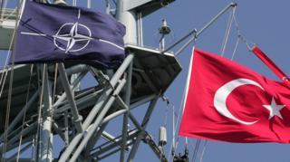 NATO ve Türkiye bayrakları