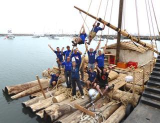 Crew aboard raft