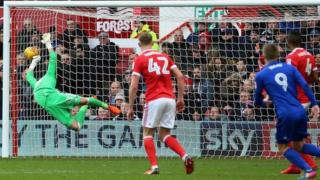 Danny Ward scores against Nottingham Forest