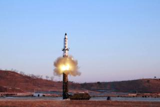 This photo taken on February 12, 2017 and released on February 13 by North Korea's official Korean Central News Agency (KCNA) shows the launch of a surface-to-surface medium long-range ballistic missile Pukguksong-2 at an undisclosed location