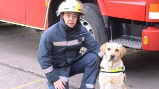 Sam with his handler Matt Jones