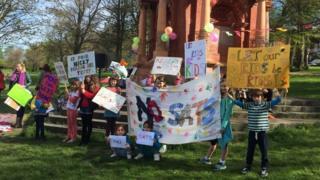 Children protesting in Preston Park, Brighton