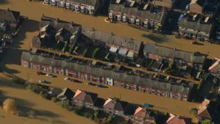 Aerial photo of flooding in York