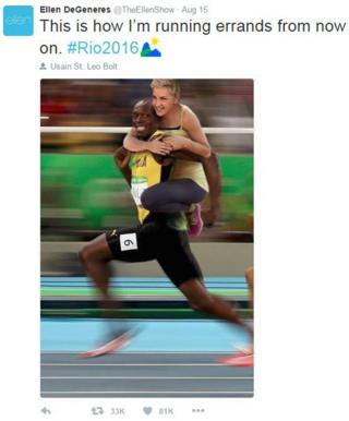 """This how I'm running errands from now on,"" tweeted Ellen DeGeneres with pic of her on Usain Bolt's back"