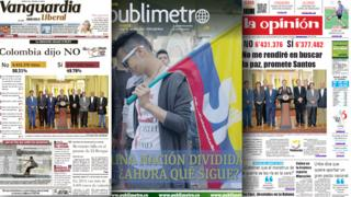 Composite image of Colombian newspaper front pages