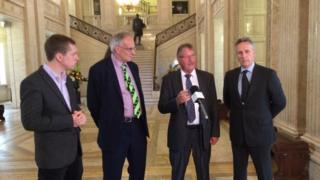 Brexit campaigners Tom Purseglove, Peter Bone, Sammy Wilson and Ian Paisley Jr hold press conference at Stormont