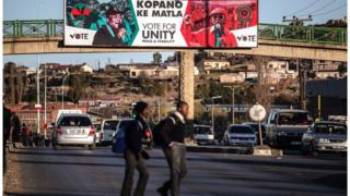 Election posters in the capital Maseru