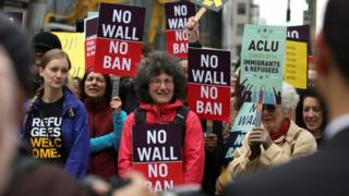 People protest outside 9th US Circuit Court of Appeals over US President Donald Trump's revised travel ban in Seattle, Washington on May 15, 2017