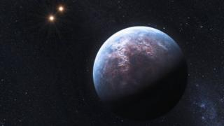 Artist's impression of an exoplanet orbiting a binary star system