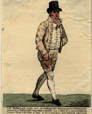 El célebre peatón Capitán Robert Barclay en su uniforme