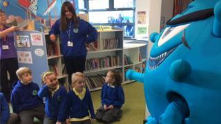 School pupils at flu talk