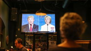 A viewer watching the final presidential debate in a bar in North Carolina
