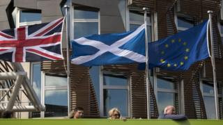 Flags outside Scottish Parliament