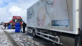 Greggs lorry stuck on A1