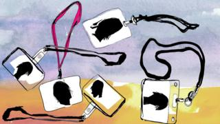 A BBC illustration showing work lanyards / door passes like the ones sometimes worn to work
