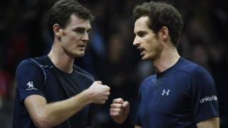Britain's Jamie Murray (L) and Britain's Andy Murray celebrate