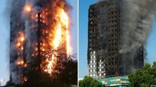 塔楼失火和灭火后