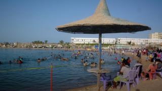 The beach at the Egyptian Red Sea resort of Hurghada, 2010