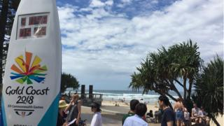 Commonwealth Games signboard for beach.