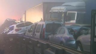 Cars shunted into each other after a crash in Slovenia