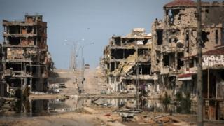 War-damaged street in Sirte