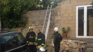 Fire fighters at Boxfields caves