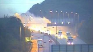 A lorry was engulfed in flames near Bluewater