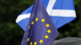 EU and Scottish Saltire flags