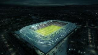 An aerial view of the new stadium