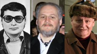 """This combination of file pictures created on March 28, 2017 shows (L-R) a portrait of Venezuelan self styled revolutionary Ilich Ramirez Sanchez, also known as """"Carlos the Jackal"""" taken in the early 1970s, Ramirez arriving to face trial at the Palais de Justice in Paris on March 7, 2001 and arriving at the Criminal Court of the Palais de Justice in Paris on December 9, 2013."""