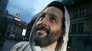Rob Slater, pictured, is playing the part of Jesus in the passion play