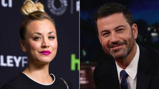 Kaley Cuoco and Jimmy Kimmel
