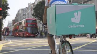 Back of a Deliveroo cyclist