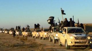 Islamic State militants in Raqqa, Syria, in 2014