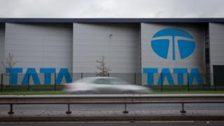 Blue Tata signs at Port Talbot