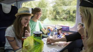 young people on train