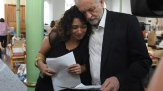 Jeremy Corbyn comforts unnamed woman